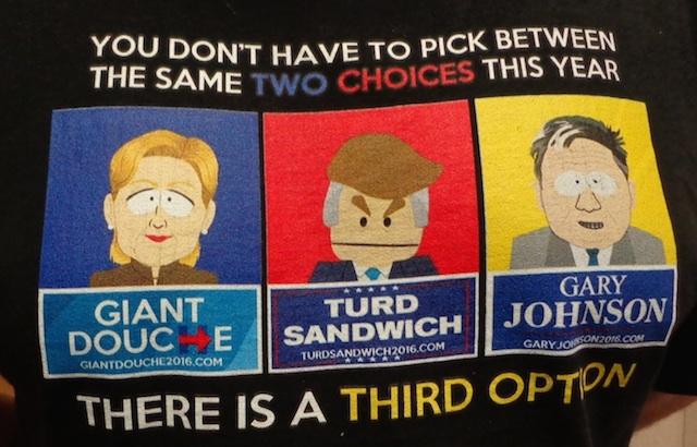 """Gary Johnson—""""Third Option"""" t-shirt, at South Dakota Libertarian Convention, Aberdeen, South Dakota, 2016.07.30."""