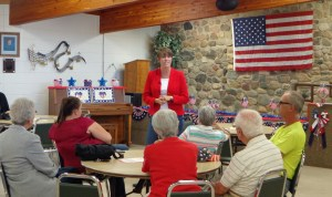 Rep. Paula Hawks speaks at a town hall meeting in Aberdeen, SD, 2016.07.13.