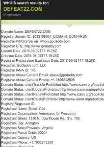 GoDaddy WHOIS entry for Defeat22.com, screen cap 2016.07.07.