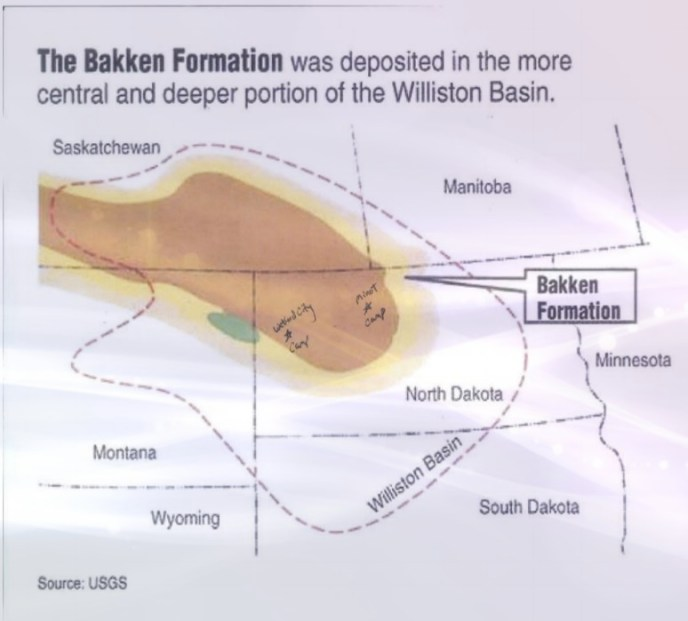 Bakken oil fields, annotated with proposed ChiTA man camp sites, ChiTA funding proposal, circa 2011–early 2012.