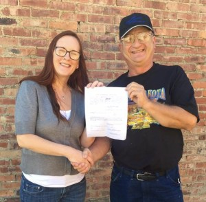 Melissa Mentele and Frank Kloucek seal the deal with official declaration of Mentele's candidacy for District 19 House, sent to Secretary of State Shantel Krebs Friday. Photo posted publicly on Facebook, 2016.08.05.