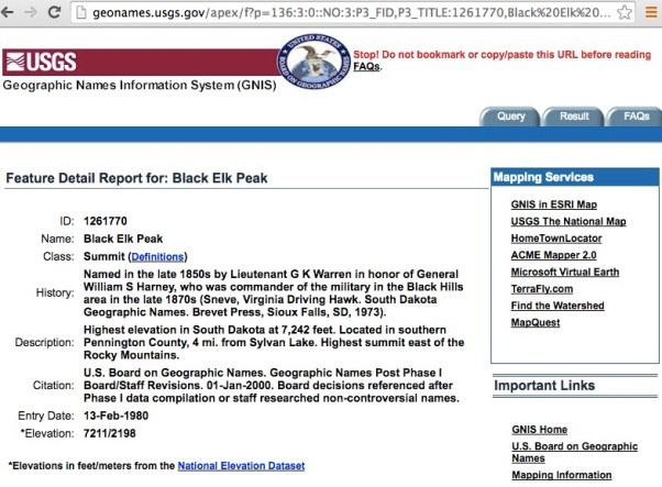 USGS GNIS Black Elk Peak entry, screen cap, 2016.08.12.