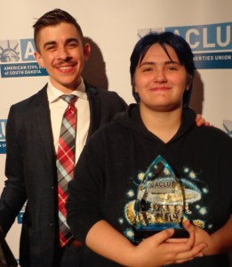 ACLU staff attorney Chase Strangio (left) and 2016 Youth Advocate Award recipient Thomas Lewis. Photo by CAH, 2016.09.29.