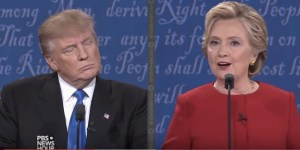 Hillary Clinton explains policy, while Donald Trump waits to shoot himself again in the foot. Presidential Debate, 2016.09.26. Screen cap from PBS NewsHour.