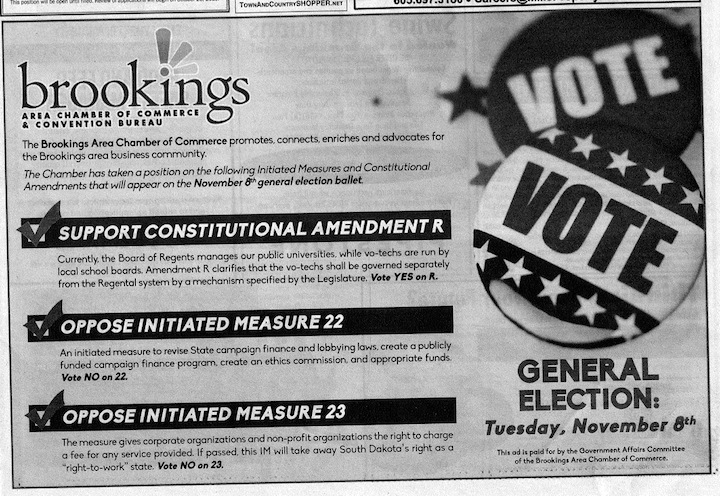 Brookings Chamber of Commerce, political ad, Brookings Register, late October 2016.