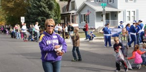 Dedicated Brown County Democrat Deb Knecht unloads the first candy bucket of many