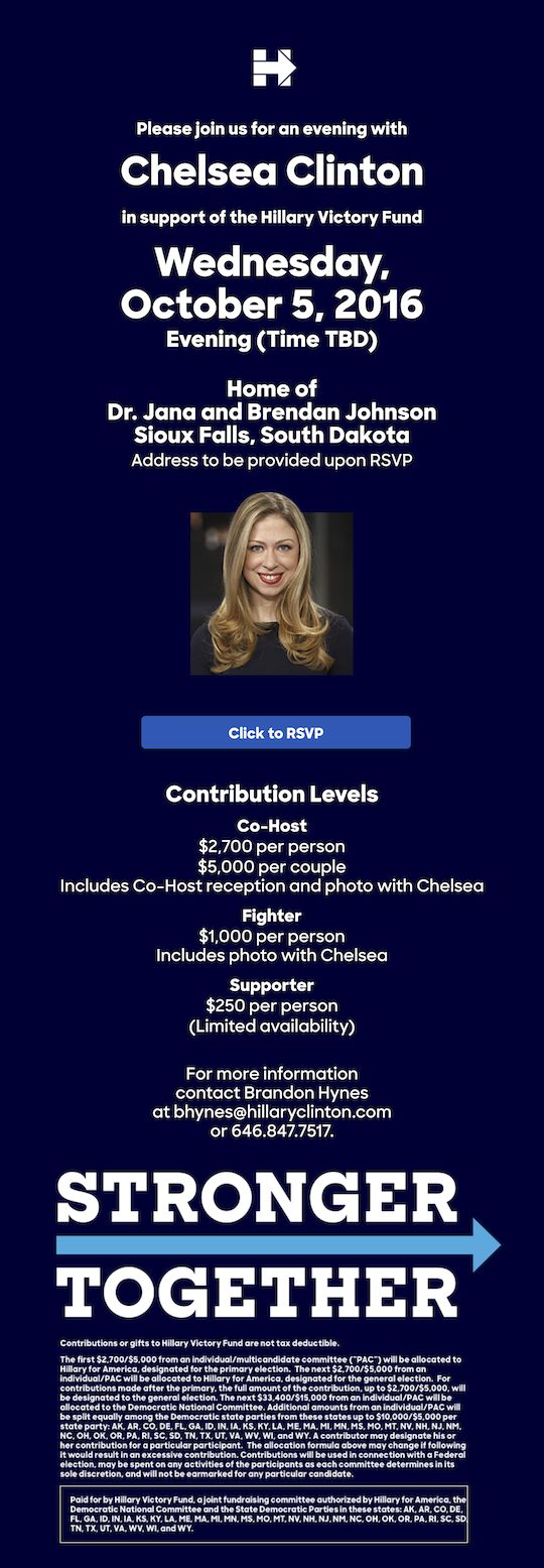 Invitation to Hillary Clinton fundraiser featuring Chelsea Clinton, received by Dakota Free Press 2016.10.02.