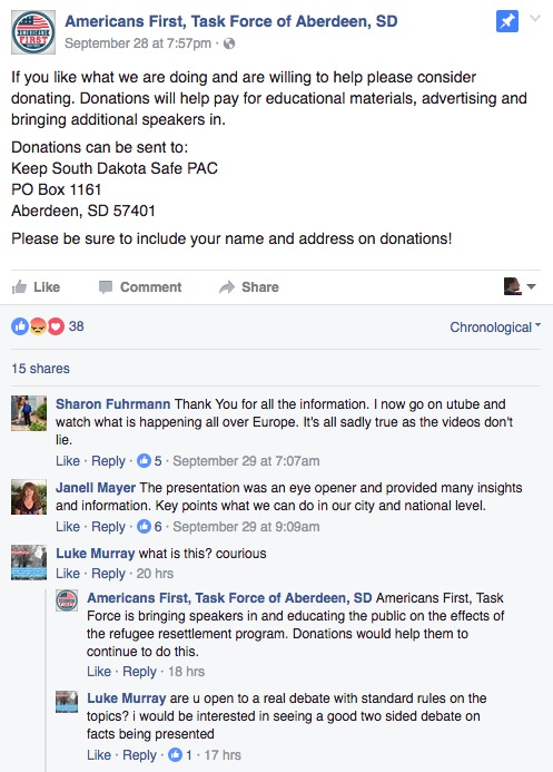 """Americans First, Task Force"" donation pitch for ""Keep South Dakota Safe PAC"", Facebook post, 2016.09.28."