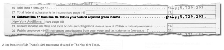 Excerpt from Trump 1995 state tax return, published by New York Times, 2016.10.01.
