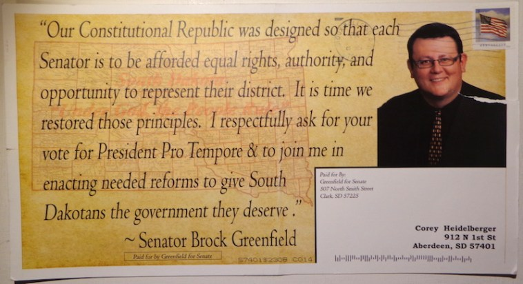 Senator Brock Greenfield, postcard, received DFP 2016.11.14.