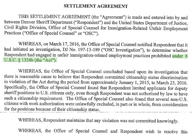 Department of Justice and Denver Sheriff's Department, settlement agreement, 2016.11.21.