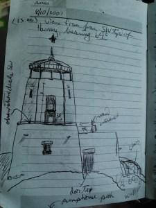 CAH, sketch of Black Elk (then Harney) Peak fire tower, made on site, 2001.08.10.