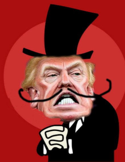Snidely Donald, tying us all to the railroad tracks.