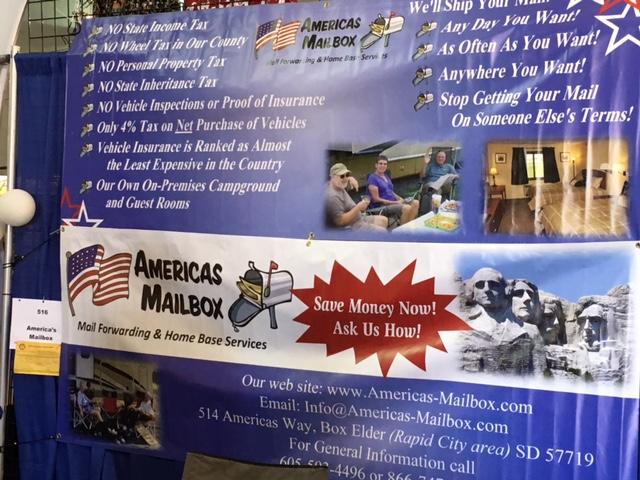 America's Mailbox booth, Quartzsite RV Show, 2017.01.29.