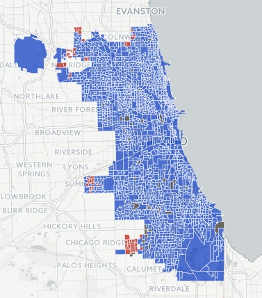 Chicago 2016 Presidential election results: Clinton won blue counties; Trump won red counties. Source: DNAinfo.com, downloaded 2017.01.25.