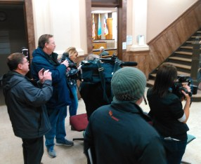 What passes for a media scrum in Brown County, as reporters await Attorney General Marty Jackley and defendant Joop Bollen. Brown County Courthouse, Aberdeen, South Dakota, 2017.02.01.