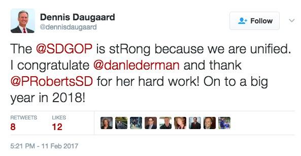 Gov. Dennis Daugaard, tweet, 2017.02.11.