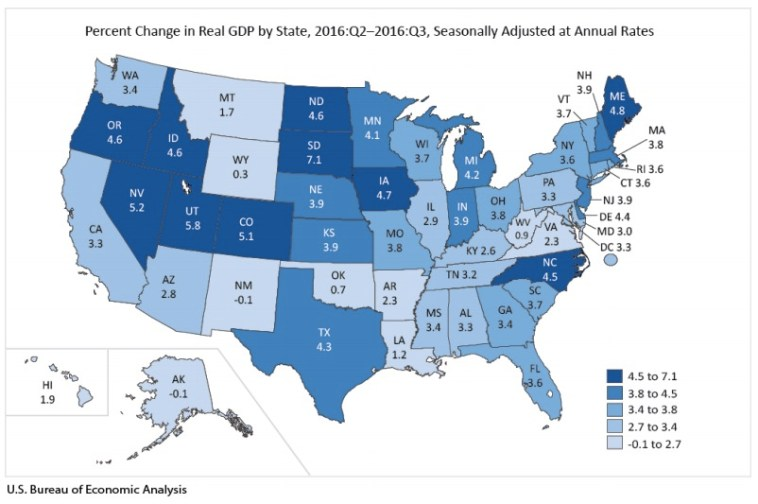 State GDP 2016 Q3