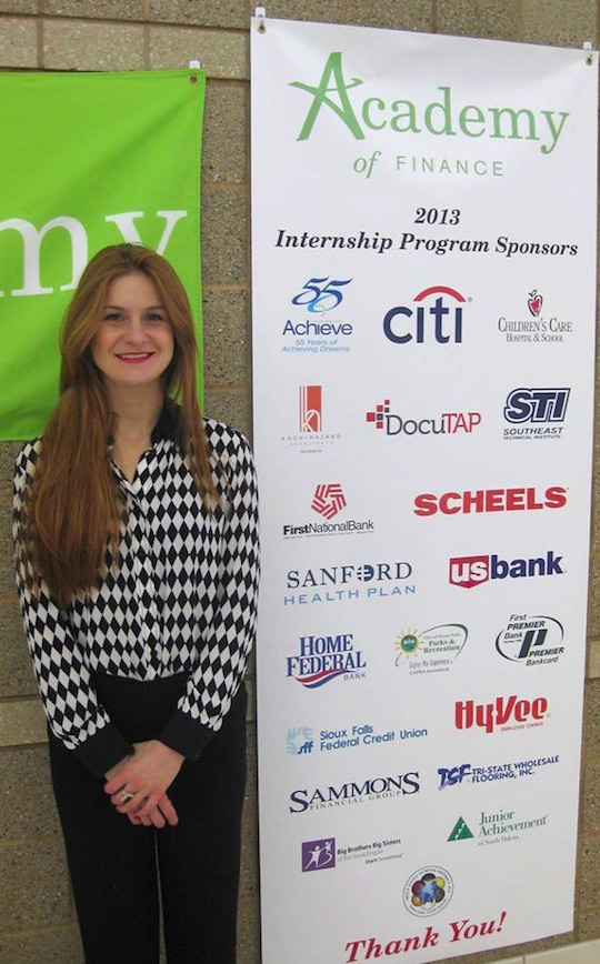Butina at Sioux Falls CTE Academy of Finance, FB photo 2015.05.13.
