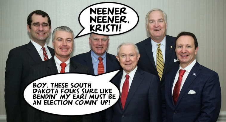 Marty Jackley and other state A.G.s meet with U.S. Attorney General Jefferson Beauregard Sessions; photo from SDAG Office, 2017.02.28.