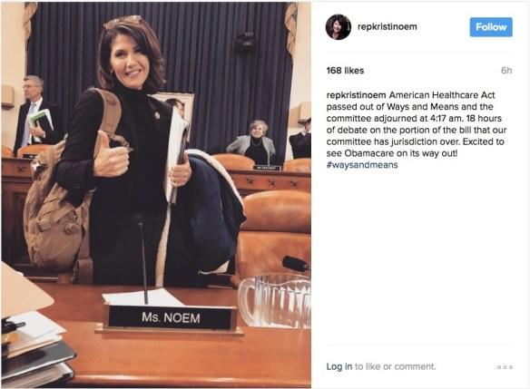 Rep. Kristi Noem, Instagram, 2017.03.09.