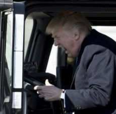 Donald Trump in big truck, 2017.03.23.