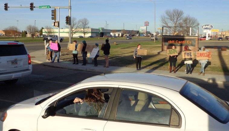Protestors on east side of Lamont Street