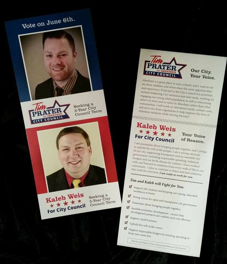 Prater/Weis campaign flyer, posted 2017.04.18.