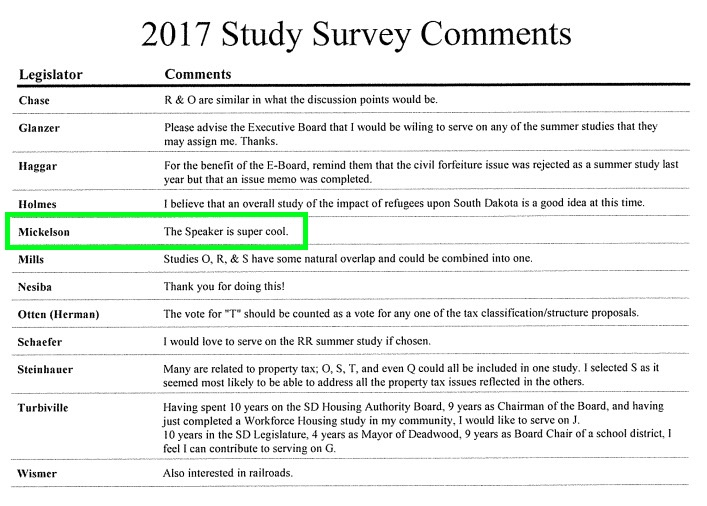 SD Legislature 2017 Interim Study Survey Comments, posted 2017.04.18.