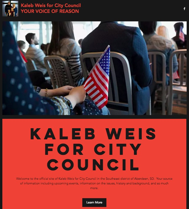 Kaleb Weis for City Council, top of campaign website, screen cap 2017.04.01.