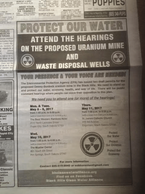 Black Hills Clean Water Alliance newspaper ad, posted to Facebook 2017.05.01.