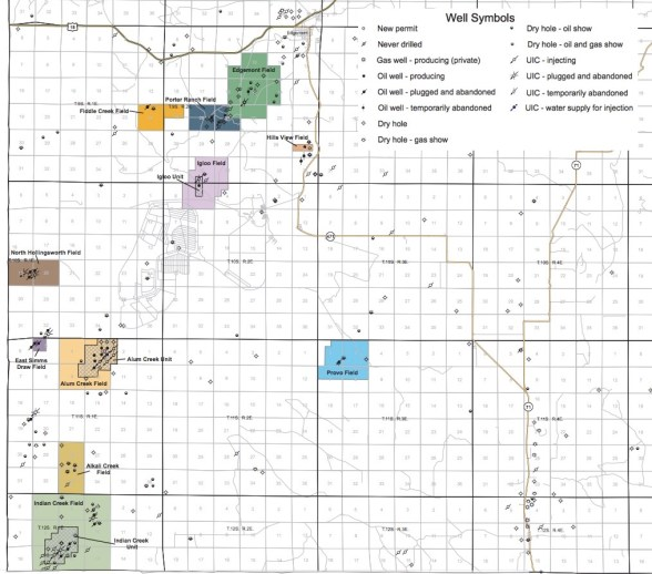 Oil and gas drilling in southwest Fall River County; adapted from DENR map, January 2017