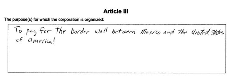 Terry LaFleur, Build the Wall Foundation Inc., articles of incorporation, 2017.05.05, p. 1.