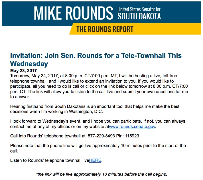 Senator Rounds e-mail, 2017.05.23.