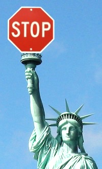 Statue of Liberty raises stop sign