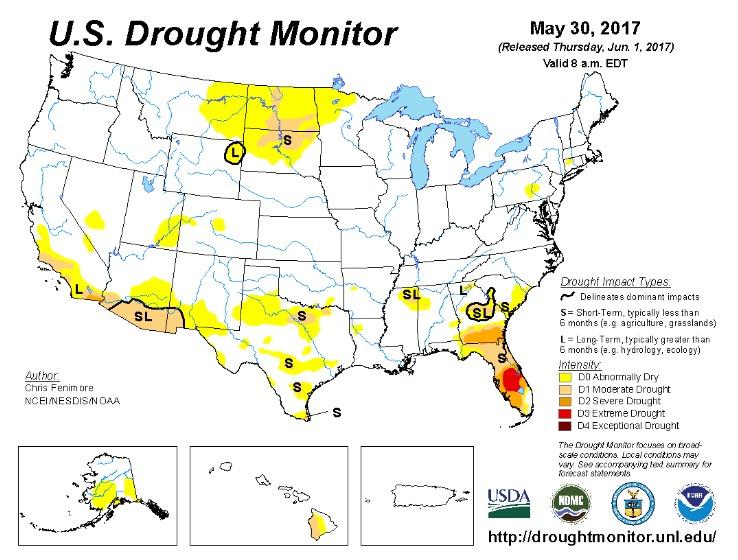 U.S. Drought Monitor map, 2017.05.30.