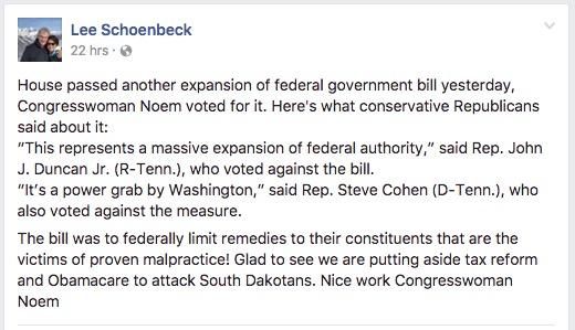 Lee Schonebeck, Facebook post, 2017.06.29.