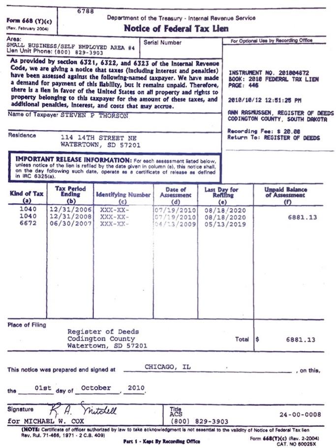 Federal Tax Lien #2010004872.