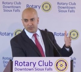 Neel Kashkari, Minneapolis Federal Reserve President, speaks to Sioux Falls Rotary, 2017.08.07.