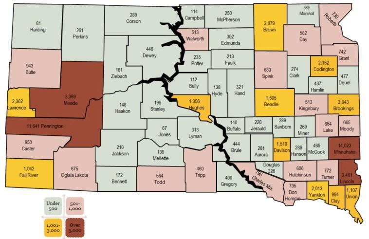 Veterans per county, South Dakota Department of Veterans Affairs 2016 annual report [click to embiggen!].