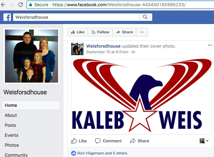 Kaleb Weis for SD House, Facebook page, screen cap 2017.09.21.