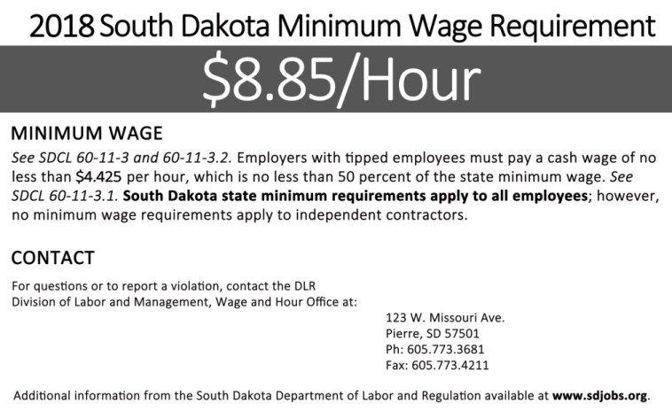 South Dakota minimum wage poster for 2018, Department of Labor and Regulation, Sep. 2017.