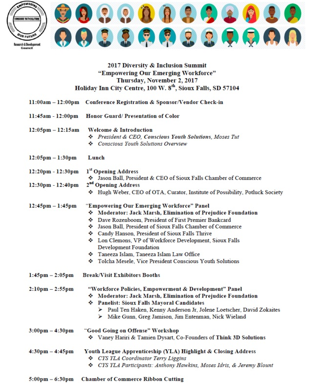 Diversity & Inclusion Summit program, Sioux Falls, SD, 2017.11.02