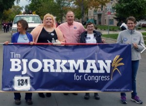 Tim Bjorkman and some supporters in NSU homecoming parade, two blocks from my house! Photo by Dennis Olson, Beadle/Kingsbury Democrats FB page, 2017.09.30.
