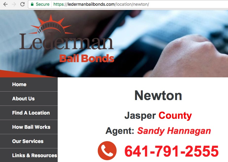 LedermanBailBonds.com, Newton IA office, screen cap 2017.10.12.