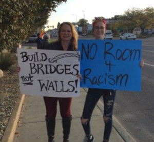 Protesting racism on Minnesota Avenue, Sioux Falls, SD, 2017.10.13. Photo by Carrie Johnson.