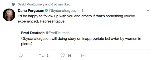 Dana Ferguson to Fred Deutsch, Twitter, 2017.10.22.