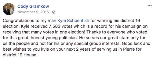 Cody Gramkow, Facebook post, 2016.11.09.