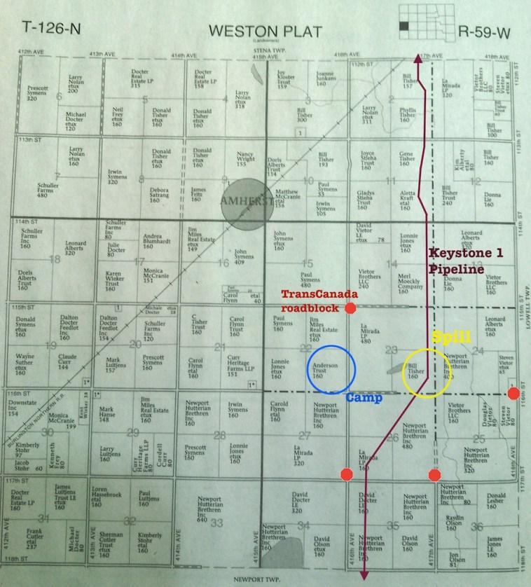 Weston Township plat map, with Keystone pipeline spill annotations.