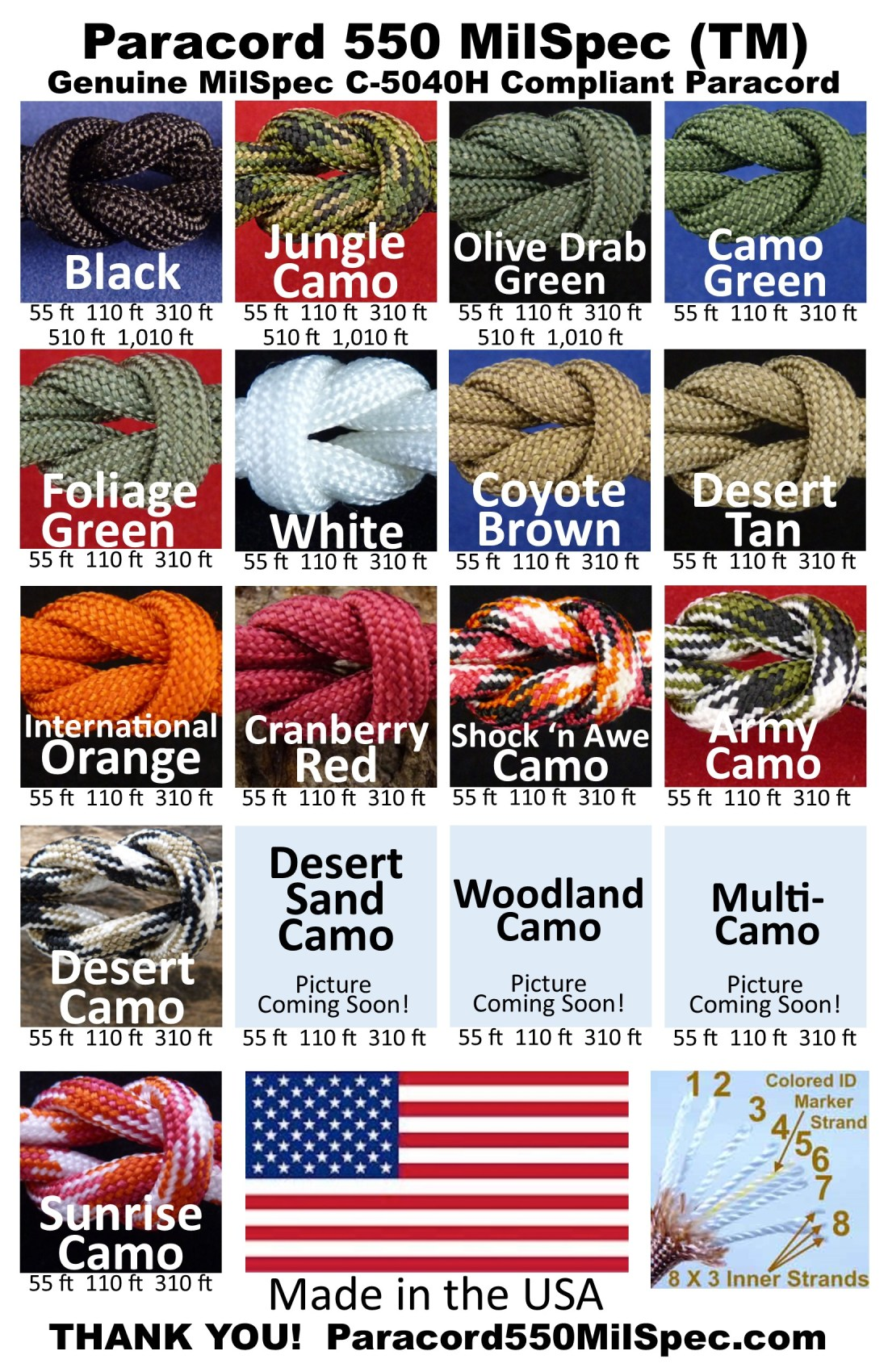 Paracord 550 mil-spec grade military use Paracord - strong and reliable